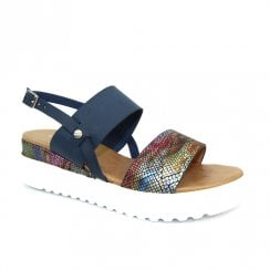 Lunar Womens Markle Navy Flat Chunky Sole Sandals
