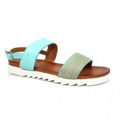 Lunar Womens Wonder Turquoise Stripe Detail Flat Sandals