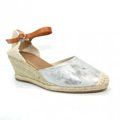 Lunar Womens Mexico Silver Wedge Heeled Espadrille Sandals