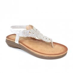 Lunar Womens Edwina Silver Gemstone Flat Post Toe Sandals