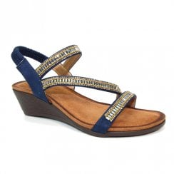Lunar Womens Sofia Navy Cross Strap Wedged Sandals