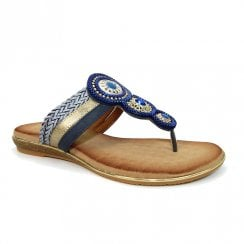 Lunar Carlotta Blue Jewelled Toe Post Flat Slip On Sandals