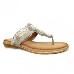 Lunar Carlotta Grey Jewelled Toe Post Flat Slip On Sandals