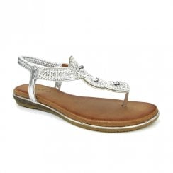 Lunar Womens Silvia Silver Toe Post Gem Flat Sandals