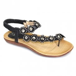 Lunar Womens Charlotte Black Flower Toe Loop Flat Sandals