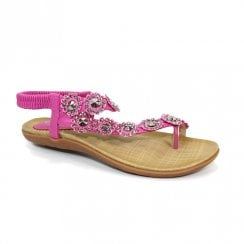 Lunar Womens Charlotte Pink Flower Toe Loop Flat Sandals