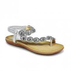 Lunar Womens Charlotte Silver Flower Toe Loop Flat Sandals