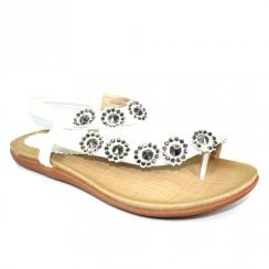 Lunar Womens Charlotte White Flower Toe Loop Flat Sandals