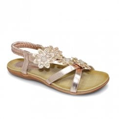 Lunar Womens Fiji Rose Gold Floral Flat Sandals