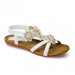 Lunar Womens Fiji White Floral Flat Sandals