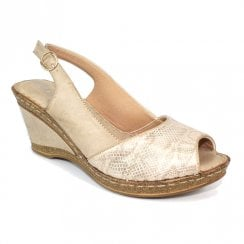 Lunar Barnes Beige Snake Print Wedge Heeled Sling Back Sandals