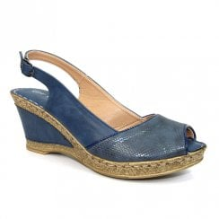 Lunar Barnes Blue Snake Print Wedge Heeled Sling Back Sandals