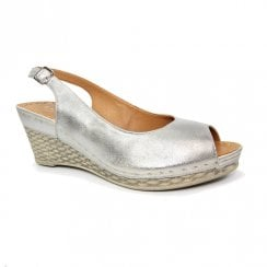 Lunar Annie Silver Metallic Wedge Heel Sling Back Sandals
