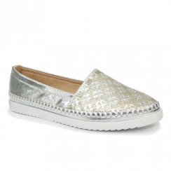 Lunar Womens Ashby Silver Lightweight Slip On Summer Shoes