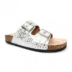 Lunar Womens Kendal White 2 Buckle Slider Flat Sandals