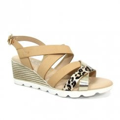 Lunar Womens Ollie Beige Strappy Low Wedge Sandals