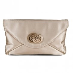 Lunar Womens Occasion Ripley Champagne Satin Bag