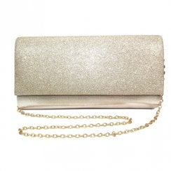 Lunar Womens Joelle Gold Glitter Clutch Bag