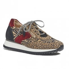 Gabor Womens Beige Leo Zebra Suede Sneakers Shoes
