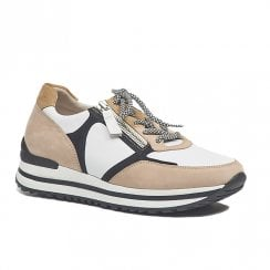 Gabor Womens White Beige Suede Sneakers Shoes
