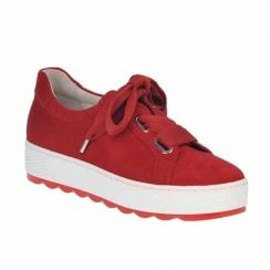 Gabor Womens Ruby Red Suede Leather Chunky Sneakers Shoes