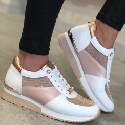 Lloyd & Pryce Ladies Rose Gold/White Sneakers - Magner