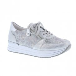 Remonte Ladies Leather Sneakers - Silver