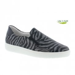 Remonte Ladies Slip On Leather Shoes - Grey/Black