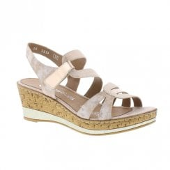Remonte Ladies Wedge Heeled Sandals - Rose Gold