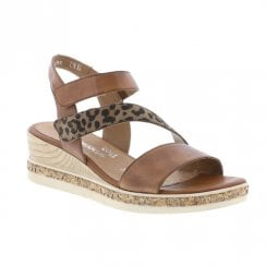 Remonte Ladies Low Wedge Velcro Strap Sandals - Tan