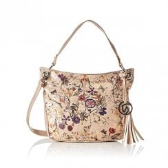 Rieker Q0343 Rose Gold Floral Womens Handbag