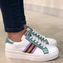 Méliné Womens White/Multi Sneakers - UG3016