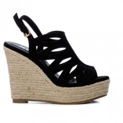 XTI Womens Black Caged Wedged Heeled Sandals - 44039
