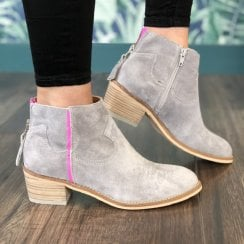 Alpe Womens Grey Suede Ankle Boot - 4011