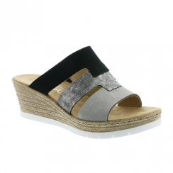 Rieker Ladies Wedge Heel Slip On Black Grey Sandals