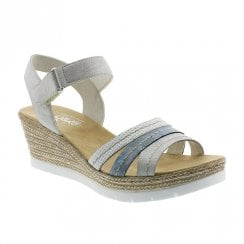 Rieker Ladies Wedge Heel Velcro Strap White Silver Sandals