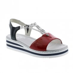 Rieker Ladies Low Wedge Navy Red Sandals