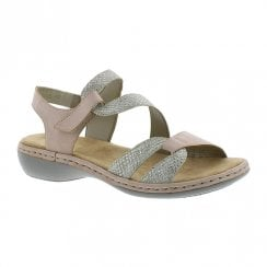 Rieker Ladies Velcro Strap Rose Flat Sandals