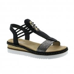 Rieker Ladies Black Flat Wedge Elasticated Pull On Sandals