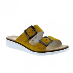 Rieker Ladies Flat Wedge Yellow Slip On Sandals