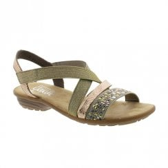 Rieker Ladies Flat Slingback Strap Gold Sandals