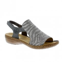 Rieker Ladies Flat Slingback Strap Grey Sandals
