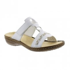 Rieker Ladies Flat Slip On White Mule Velcro Sandals
