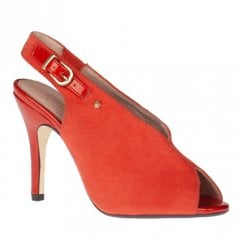 Kate Appleby Langarth Red Coral High Heeled Slingback Peep Toe Sandals