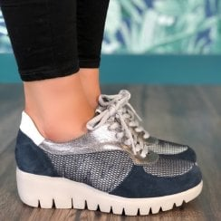 Wonders Womens Navy Lace Up Wedged Trainers - C-33202