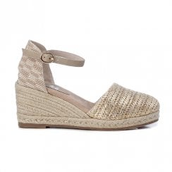 XTI Womens Gold Espadrille Wedged Sandals