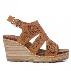 Refresh Womens Camel Cut Out Wedged Heeled Sandals - 69488