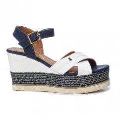 Refresh Womens Navy/White Wedged Sandals