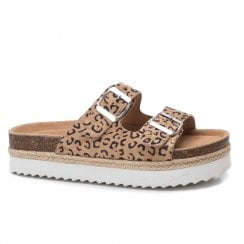 Refresh Womens Leopard Print Mule Sandals