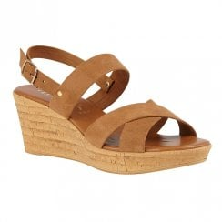Lotus Angelica Tan Slingback Strap Wedge Heel Sandals